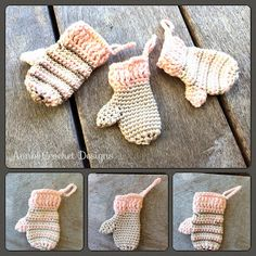 Adorable Mittens Ornaments By AnnooCrochet Designs Here is another easy to make beautiful Ornament Pattern I created for you, fo. Fingerless Gloves Crochet Pattern, Crochet Mittens, Crochet Scarves, Crochet Baby, Knit Crochet, Free Crochet, Irish Crochet, Crochet Christmas Ornaments, Christmas Crochet Patterns