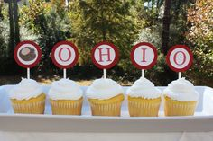 Buckeye Cupcake Toppers - Set of 12
