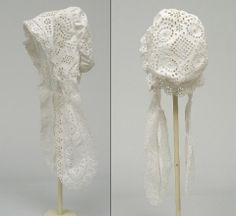 1844 woman's embroidered broderie anglaise nightcap.