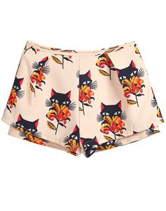 Apricot Low Waist Floral Cats Print Shorts. Or a knock off of a print featured in Miu Miu's Spring 2014 RTW line.