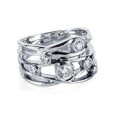 Diamond Right-Hand Ring Wide Open Bezel in 18kt White Gold | Birks