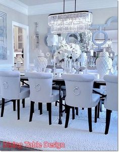 This White Dining Room is incredible . would you dare? This White Dining Room is incredible . would you dare? Luxury Dining Room, Elegant Dining Room, Beautiful Dining Rooms, White Dining Room Table, Dining Room Table Decor, Dining Room Design, Living Room Decor, Dinning Room Chandelier, Dining Room Furniture