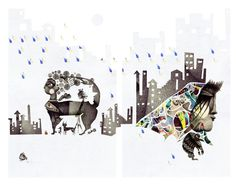 There's a rainy day. Art Day, New Work, Moose Art, Mixed Media, Childhood, Creatures, Behance, Collage, Photoshop