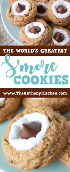 Best Smore Cookie Recipe | A s'more cookie with a base made to emulate the flavors of a graham cracker, topped with a marshmallow and a chocolate kiss | #cookierecipes