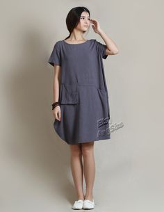 Anysize soft linen LANTERN loose dress with deep heel pockets plus size dress plus size clothing summer dress summer clothing Y18