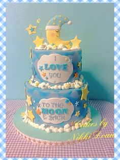 I love you to the moon and back baby shower cake by Nikki Doan