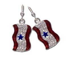 Blue Star Service Earrings - Diamond-like Swarovski crystals with red enamel and a blue star Service Banner earrings. Silver-plate. Price: $17.50 #blue star earrings #blue star moms earrings http://www.starsandstripesproducts.com/blue-star-service-earrings/