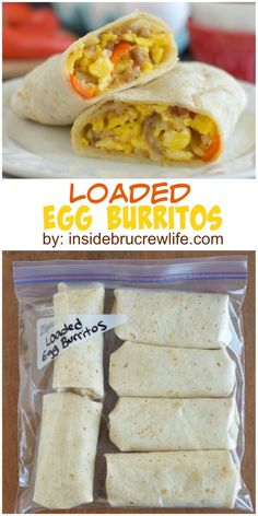 Loaded Egg Burritos: These scrambled egg burritos are loaded with meat, veggies, and cheese for a filling and easy breakfast. Perfect freezer meal. #breakfast #recipes #easy #brunch #recipe