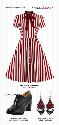 Shop this black and red #VintageInspired outfit at AtomicJaneClothing.com! #pinup #pinupoutfit #rockabilly #rockabillystyle #vintage #vintageinspired 1950s Outfits, Rockabilly Outfits, Pin Up Outfits, Rockabilly Style, Rockabilly Fashion, Casual Outfits, Cute Outfits, Only Fashion, Fashion Beauty