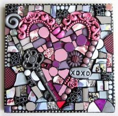 XOXO.  mixed media mosaic pique assiette love heart wedding gift wedding present contemporary art modern art mosaic