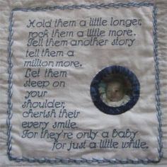 Label for an infant memory quilt.  The quilt was also beautiful.