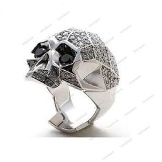 14K White Gold Plated Men's 2.22 CT Real Diamond Round 925 Silver Skull Ring #bacio2jewel #SkullRing