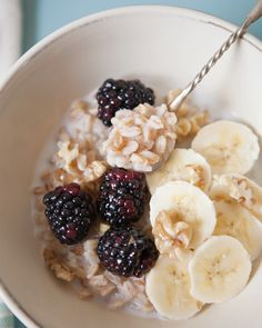 Sweet Farro with Blackberries + Bananas.  What a great breakfast idea that I never considered before!