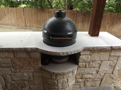 Keller TX Stone Outdoor Kitchen With Green Egg By C3 Backyard Oasis LLC