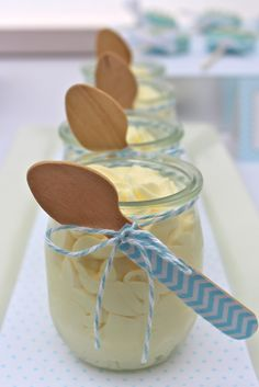 idea: white chocolate mousse with chevron washi tape wooden spoons