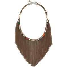 Shourouk Kiki brass and Swarovski crystal bib necklace ($635) ❤ liked on Polyvore