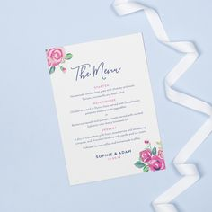 Vintage rose style wedding menu cards Floral Wedding Stationery, Strawberry Compote, Design Suites, Wedding Menu Cards, Chicken Wraps, Vintage Roses, Table Settings, Place Card Holders, Homemade