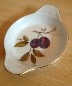 Royal Worcester Porcelain Evesham Range Gold Twin Handle Oval Dish with Label