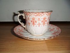 Beautiful-Vintage-Aynsley-Orange-amp-Gold-Fleur-De-Lys-Duo-Cup-amp-Saucer