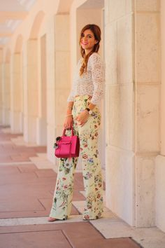 {live like spring} lace crochet white top, wide leg or wide legged trousers, florals, mini pink rebecca minkoff, schutz cadey lee sandals, statement necklace, perfect look for a baby shower, bridal shower, brunch, spring trend 2015, black and gold classic aviators ray ban