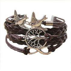 QINUO Vintage Bird Life-Tree Infinite  Weaving Bracelet – USD $ 1.99