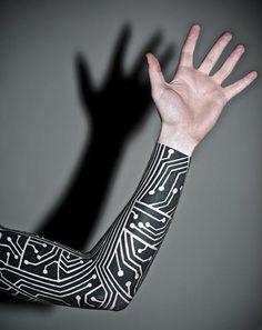 Circuit board black and white tattoo sleeve