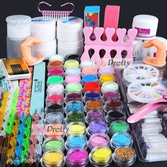 acrylic powder nail kit on sale at reasonable prices, buy Professional Nail Art Tools Kit UV Gel Finger Extension Nail Burshes Acrylic Powder Powder Glitter Nail Decoration Tip Kit from mobile site on Aliexpress Now! Powder Glitter Nails, Acrylic Nail Powder, Simple Acrylic Nails, Acrylic Nail Art, Gel Nail Kit, Uv Gel Nails, Gel Manicure, Nail Art Tool Kit, Nail Art Tools