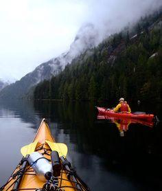 Kayakers heading into Rudyerd Bay in Misty Fjords.