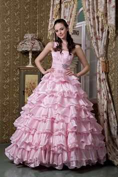 Ball Gown One-shoulder Stretch Satin Ruffles Quinceanera Dress