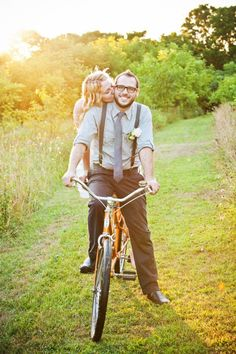 And they biked off into the sunset. Such a cute bicycle-themed fete! Photography By / http://mabyn.com