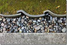 Lovely edging using roofing tiles at Portland Japanese Garden