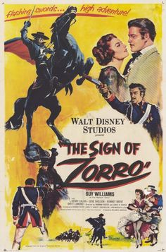 The 1960 Disney movie, The Sign of Zorro, is a compilation of the initial 13 episodes of the Disney-produced television series which ran from 1957 to 1959. Description from disneymovieslist.com. I searched for this on bing.com/images