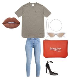 """""""Untitled #61"""" by morgan-277 on Polyvore featuring Balenciaga, Sterling Essentials, Le Specs, Yves Saint Laurent and Lime Crime"""