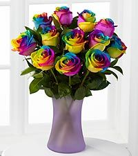 I think I will send one of these with a gift to my friends to ask them to be in my bridal party. Time to Celebrate Rainbow Rose Bouquet - 12 Stems - VASE INCLUDED
