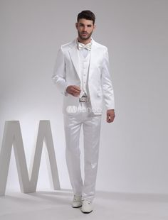 Nice White Lapel Single Breasted Button Worsted Groom Wedding Tuxedo. Every man wants to look elegant at a special occasion. Why do some men look like they were made to wear a tuxedo It's a secret we can pass on to you picking the right tuxedo.This white jacket has single breasted with two bu.. . See More Groom Suits and Tuxedos at http://www.ourgreatshop.com/Groom-Suits-Tuxedos-C918.aspx