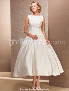 Ball Gown Bateau Tea-length Satin Wedding Dress - USD $ 179.99