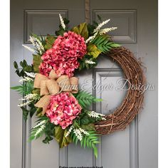 Excited to share the latest addition to my #etsy shop: NEW!! Hydrangea wreath, hydrangea wreath for front door, spring wreath, summer wreaths, wreaths for front door, door wreath, #homedecor #frontdoorwreath #grapevinewreath #frontdoordecor #summerwreath #springwreath #hydrangeawreath
