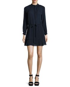 Long-Sleeve Georgette Shirtdress, Navy by Rebecca Taylor at Neiman Marcus.