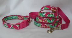 Dog Collar and Leash Set Made from Lilly Pulitzer by Lillyduds, $40.00