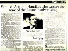 """Almost forty years ago, storied ad man David Ogilvy sat down in an office somewhere in India and recorded a little film confessing the -- as he put it -- """"secret weapon"""" of the advertising world. Direct Marketing, Internet Marketing, Ogilvy Mather, Swipe File, Get Reading, Great Ads, Direct Mail, Copywriting, Public Relations"""