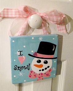 Pink Heart Valentine Snowman Custom Canvas by dreamcustomartwork, $15.00