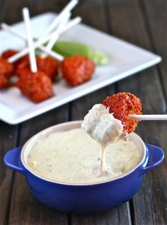 "Buffalo Chicken Lollipops with Blue Cheese Fondue . Instead of making blue cheese fondue, why not just dip it in blue cheese? Time saver if doing a full range of ""dipping"" foods Blue Cheese Fondue Recipe, Fondue Recipe Melting Pot, Fondue Cheese, Yummy Appetizers, Appetizers For Party, Appetizer Recipes, Fondue Recipes, Cooking Recipes, Fondue Ideas"