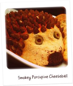 Retro porcupine cheeseball. Tons of great 1960s Cocktail Party inspiration in this link (from Always Order Dessert blog)