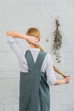Pinafore / Square cross linen apron /no ties by notPERFECTLINEN
