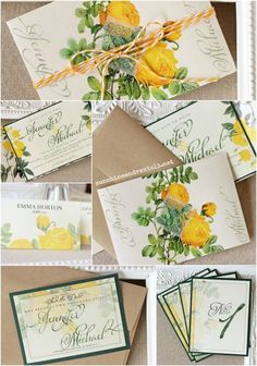 Yellow Rose Wedding Stationery Collection, Invitation, save the date, place cards, table numbers | Sunshine and Ravioli