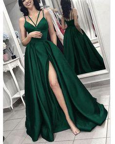 Green formal dresses - 2019 prom dress Hunter Green Long Evening Gown with Slit – Green formal dresses Dark Green Prom Dresses, Cute Prom Dresses, Grad Dresses, Elegant Dresses, Emerald Green Dresses, Long Gown Elegant, Dresses Dresses, Dance Dresses, Homecoming Dresses