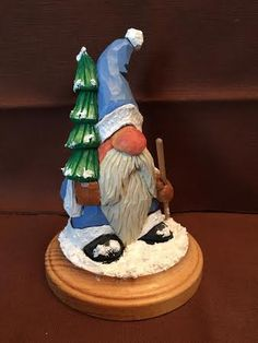 Santa with Tree carved by RWK Woodcarving