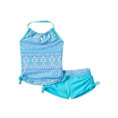Girls 7-16 Free Country Batik Halter Tankini & Boy Shorts Swimsuit Set, Size: 12, Light Blue