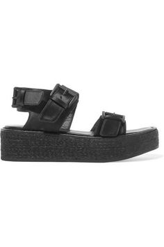 Platform sole measures approximately 2 inches Black satin Buckle-fastening strap Made in Italy Ann Demeulemeester, How To Organize Your Closet, Chunky Sandals, Satin, Whats New, Shopping Hacks, Platform Shoes, Types Of Shoes, Who What Wear