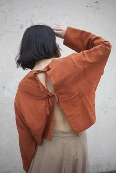 Creatures of Comfort Miko Top in  Cayenne Silk Linen | Oroboro | Brooklyn, New York